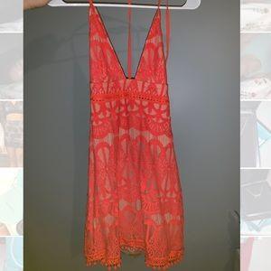 Lace red v-neck dress